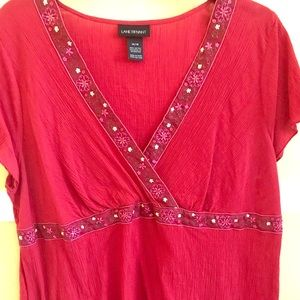Red Wrap Front Short sleeve Blouse Size 14/16